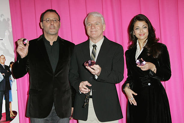 Jean Reno Steve Martin and Ashwarya Rai attend ` The Pink Panther 2` Photocall at the Georges V Hotel on February 9 2009 in Paris France