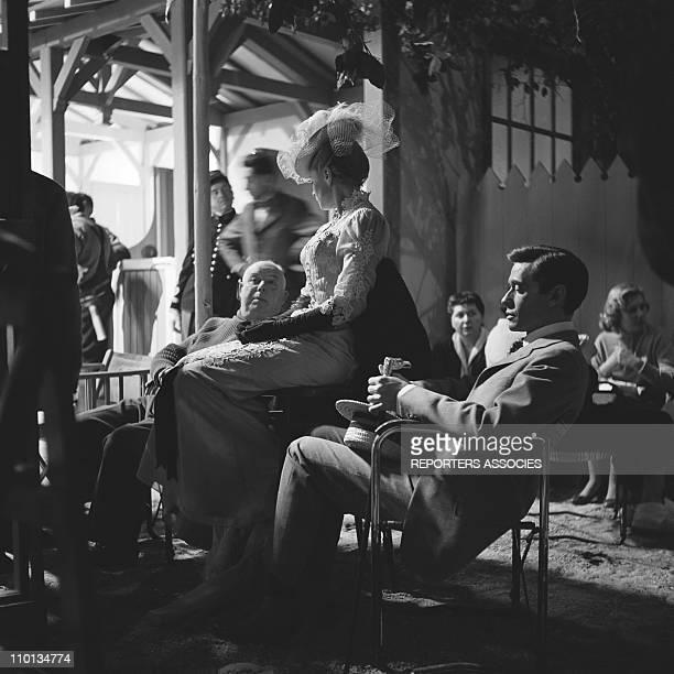 Jean RenoirIngrid Bergman and Mel Ferrer at the set of the movie 'Elena and her men' by Jean Renoir in 1955