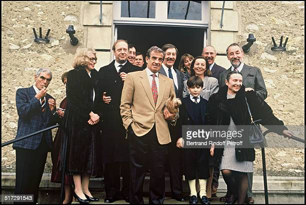 Jean Rochefort the day of his wedding with Francoise Vidal surrounded by their friends Jean Paul Belmondo Jean Pierre Marielle Philippe Noiret and...