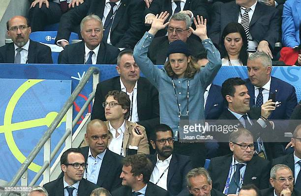 Jean Sarkozy and his brother Pierre Sarkozy attend the UEFA Euro 2016 Group A opening match between France and Romania at Stade de France on June 10...