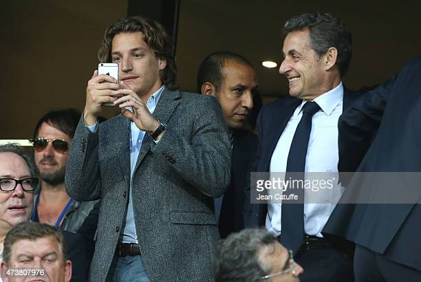 Jean Sarkozy and his father former French President Nicolas Sarkozy attend the French Ligue 1 match between Montpellier Herault SC and Paris...