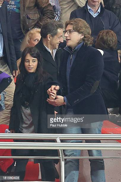 Jean Sarkozy and his wife Jessica are seen during the Paris Saint Germain FC vs AS Monaco FC at Parc des Princes on September 22 2013 in Paris France