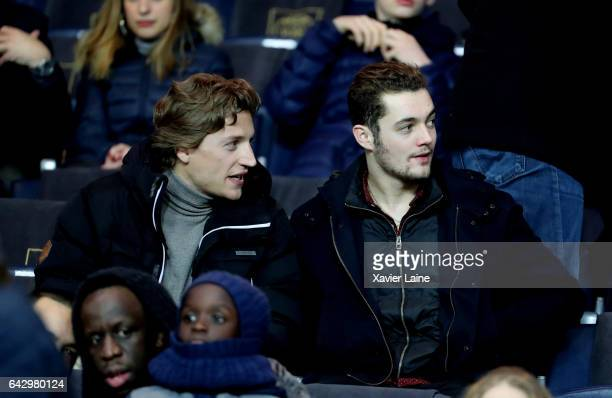 Jean Sarkozy and Louis Sarkozy attend the French Ligue 1 match between Paris SaintGermain and Toulouse FC at Parc des Princes on February 19 2017 in...
