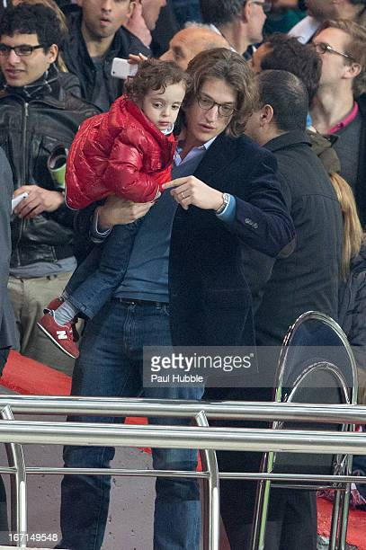 Jean Sarkozy and Solal Sarkozy are seen during the Ligue 1 match between Paris Saint Germain and OGC Nice at Parc des Princes on April 21 2013 in...