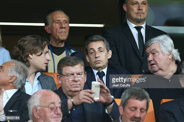 Jean Sarkozy former French President Nicolas Sarkozy and President of Montpellier Louis Nicollin attend the French Ligue 1 match between Montpellier...