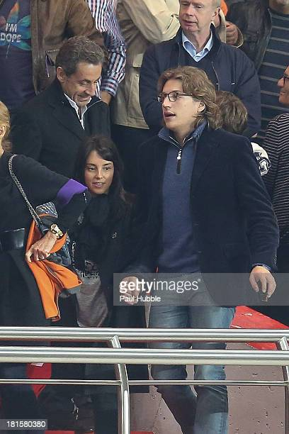 Jean Sarkozy his wife Jessica and Nicolas Sarkozy are seen during the Paris Saint Germain FC vs AS Monaco FC at Parc des Princes on September 22 2013...