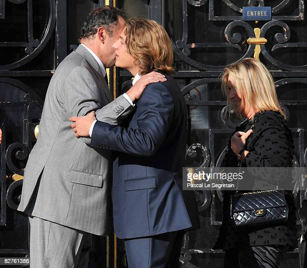 Jean Sarkozy is greeted by his uncle Guillaume Sarkozy before his wedding with Jessica SebaounDarty on September 10 2008 in Neuilly sur Seine France