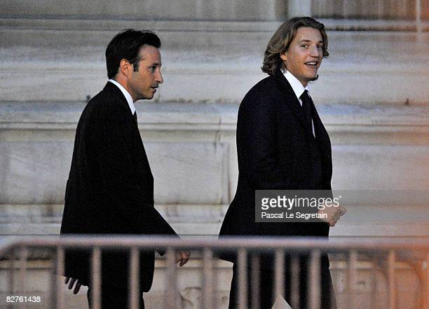 Jean Sarkozy is seen outside the townhall after his wedding to Jessica SebaounDarty on September 10 2008 in Neuilly sur Seine France