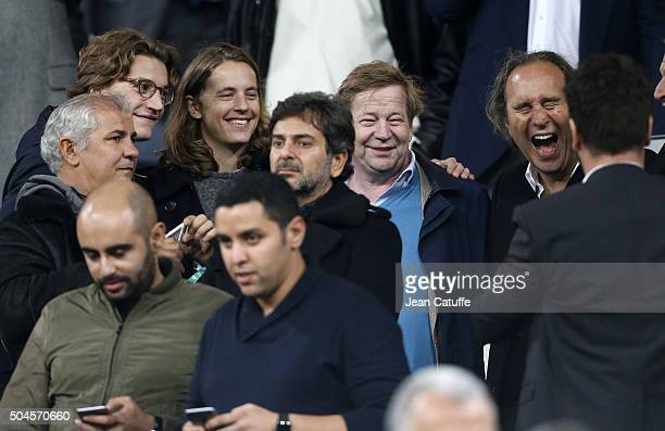 Jean Sarkozy Pierre Sarkozy CEO of Free Xavier Niel attend the UEFA Champions League match between Real Madrid and Paris SaintGermain at Santiago...