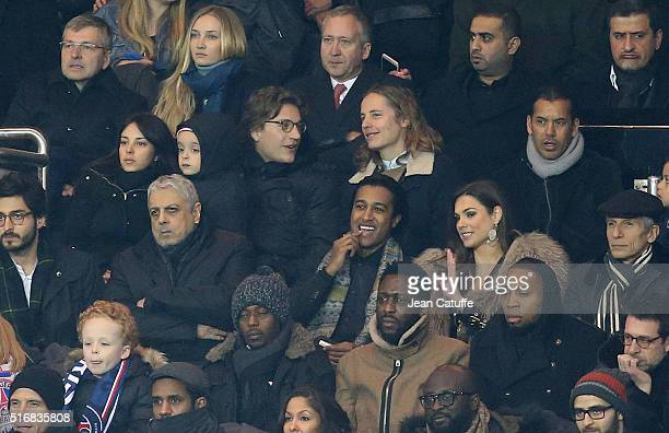 Jean Sarkozy with his wife Jessica Sebaoun Darty and their son Solal Sarkozy his brother Pierre Sarkozy Ali Benarbia below Enrico Macias attend the...