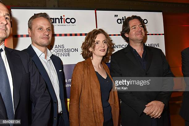 Jean Sebastien Ferjou, Nathalie Kosciusko Morizet and Pierre Guyot attend Atlantico 5th Anniversary at Cafe Campana in Musee D'Orsay on May 24, 2016...