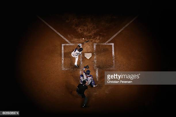 Jean Segura of the Arizona Diamondbacks bats against the Los Angeles Dodgers during the fourth inning of the MLB game at Chase Field on September 15...