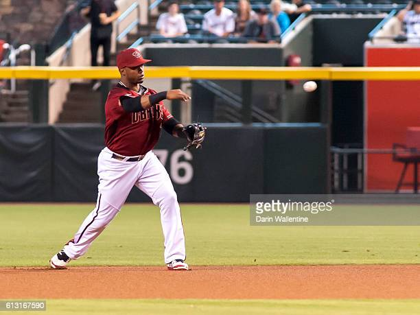 Jean Segura of the Arizona Diamondbacks fields a grounder and throws out the runner in the first inning of the MLB game between the San Diego Padres...