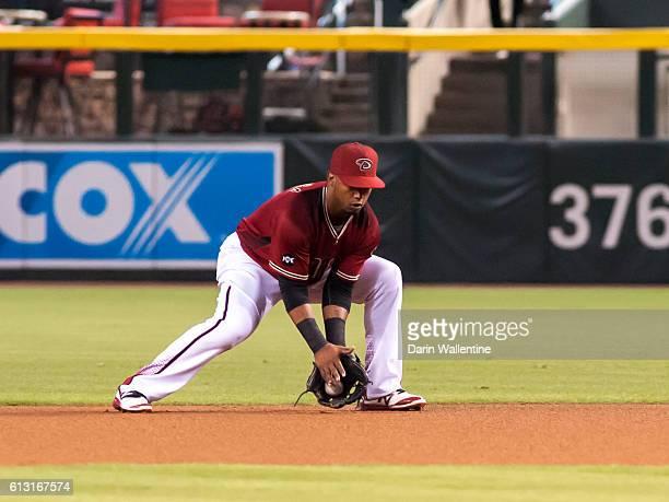 Jean Segura of the Arizona Diamondbacks fields a grounder in the first inning of the MLB game between the San Diego Padres and Arizona Diamondbacks...