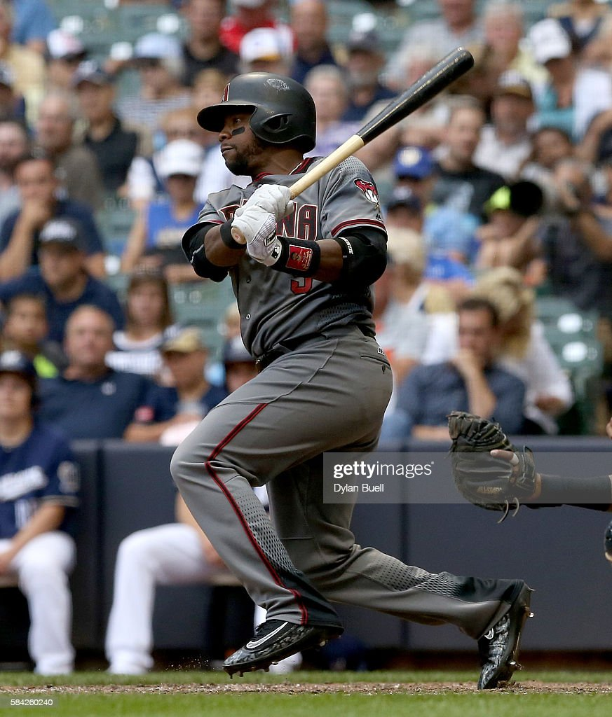 Jean Segura #2 of the Arizona Diamondbacks hits a double in the eighth inning against the Milwaukee Brewers at Miller Park on July 28, 2016 in Milwaukee, Wisconsin.