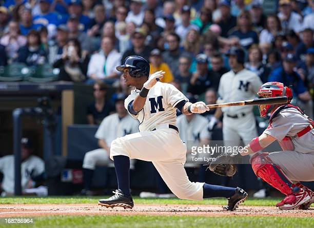 Jean Segura of the Milwaukee Brewers bats against the St Louis Cardinals at Miller Park on May 5 2013 in Milwaukee Wisconsin