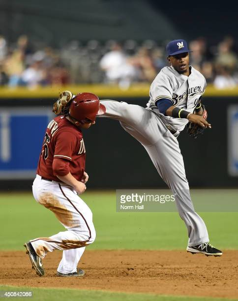 Jean Segura of the Milwaukee Brewers kicks Miguel Montero of the Arizona Diamondbacks in the head while turning a double play during the sixth inning...