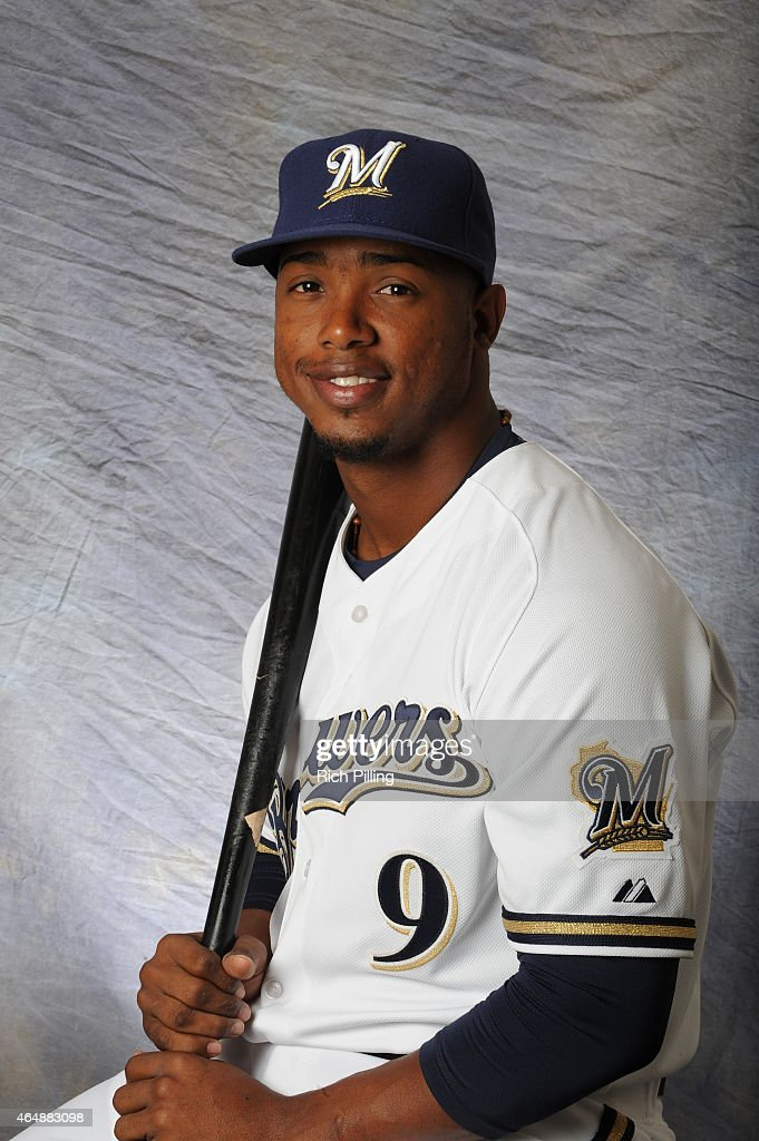 Jean Segura #9 of the Milwaukee Brewers poses for a portrait during Photo Day on February 27, 2015 at Maryville Baseball Park in Maryvale, Arizona.