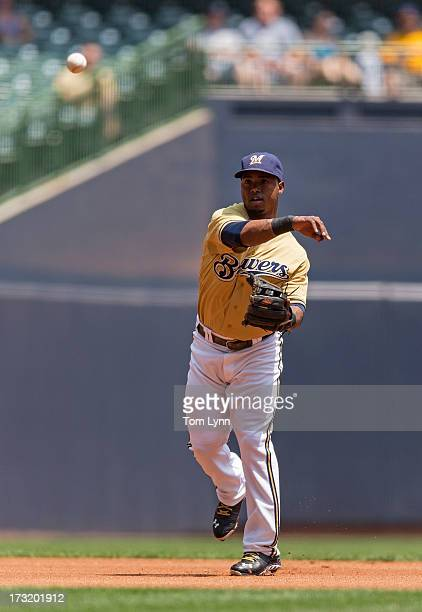 Jean Segura of the Milwaukee Brewers throws to first base against the New York Mets at Miller Park on July 7 2013 in Milwaukee Wisconsin
