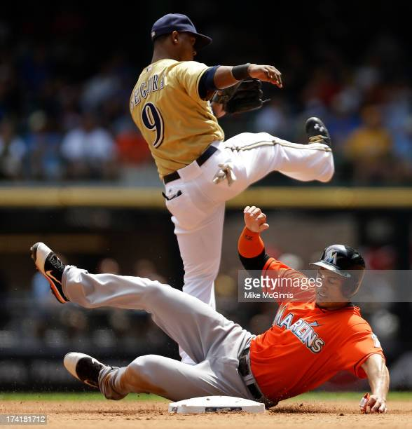Jean Segura of the Milwaukee Brewers turns the double play as Giancarlo Stanton of the Miami Marlins slides into second base in the top of the fourth...