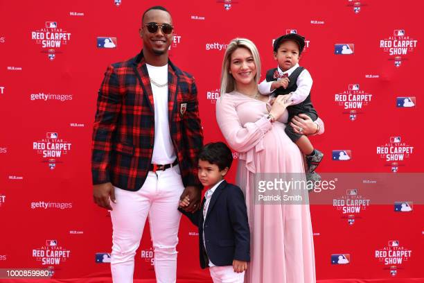 Jean Segura of the Seattle Mariners and the American League and guests attend the 89th MLB AllStar Game presented by MasterCard red carpet at...
