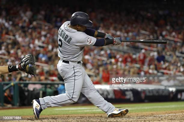 Jean Segura of the Seattle Mariners and the American League hits a threerun home run in the eighth inning against the National League during the 89th...