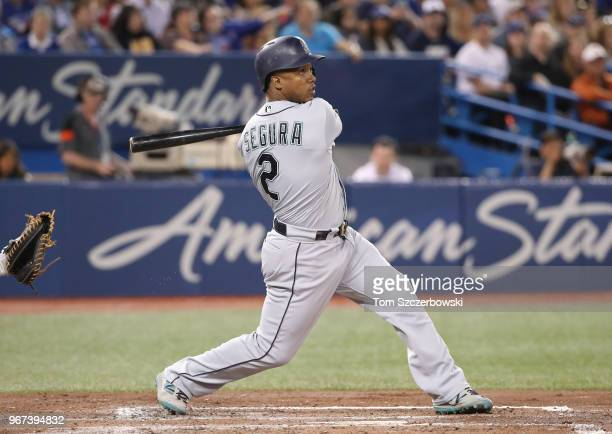 Jean Segura of the Seattle Mariners bats in the third inning during MLB game action against the Toronto Blue Jays at Rogers Centre on May 8 2018 in...