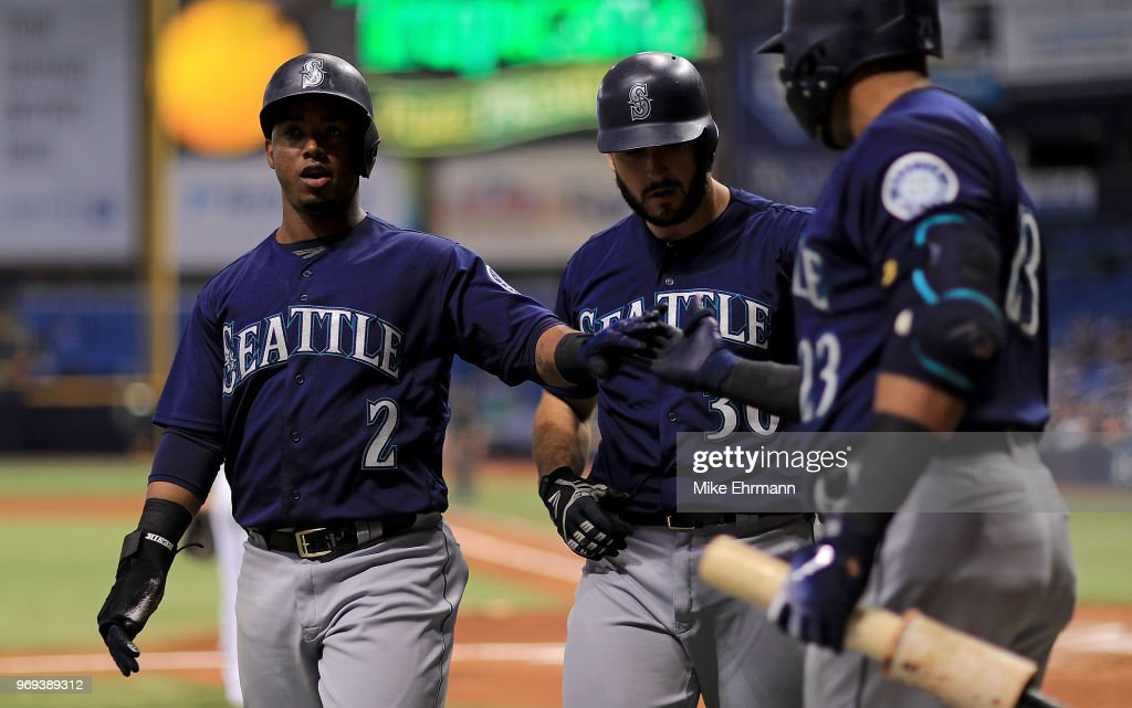 Jean Segura #2 of the Seattle Mariners celebrates scoring a run during a game against the Tampa Bay Rays at Tropicana Field on June 7, 2018 in St Petersburg, Florida.
