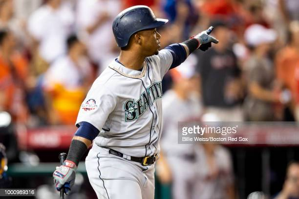 Jean Segura of the Seattle Mariners reacts after hitting a three run home run during the eighth inning of the 89th MLB AllStar Game at Nationals Park...