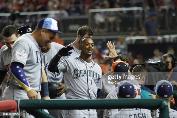 Jean Segura of the Seattle Mariners reacts after hitting a three run home run during the 89th MLB AllStar Game presented by Mastercard at Nationals...
