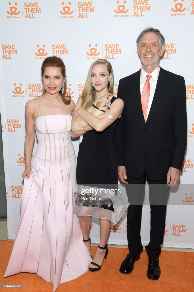 Jean Shafiroff, Amanda Seyfried and Gregory Castle attend the Best Friends Animal Society's 3rd Annual New York City Gala at Guastavino's on April 10, 2018 in New York City.