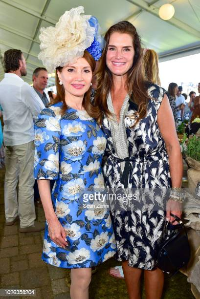 Jean Shafiroff and Brooke Shields attend the Hampton Classic Grand Prix 2018 at Hampton Classic Horse Show grounds on September 2 2018 in...