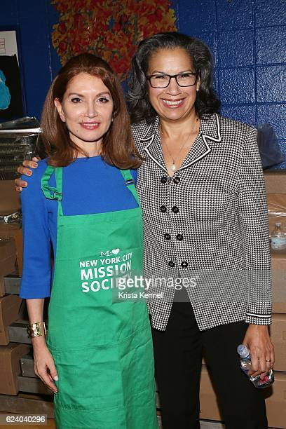 Jean Shafiroff and Elsie McCabe Thompson attend the Jean Shafiroff Jay Moorhead Underwrite Annual Community Thanksgiving Dinner at NYC Mission...