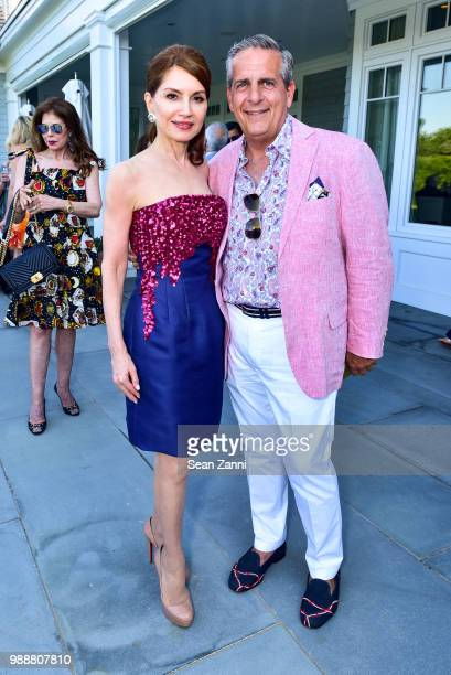 Jean Shafiroff and Greg D'Elia attend Jean And Martin Shafiroff Host Cocktails For Stony Brook Southampton Hospital on June 30 2018 in Southampton...