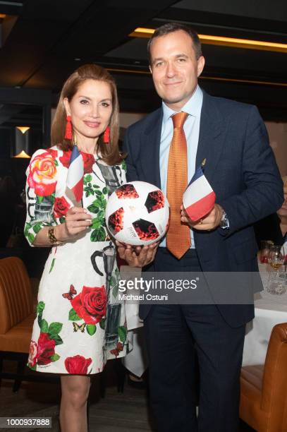 Tomaczek Bednarek Jean Shafiroff and Matt Rich attend Jean Shafiroff Hosts World Cup / Bastille Day Celebration at Omar at Vaucluse on July 17 2018...