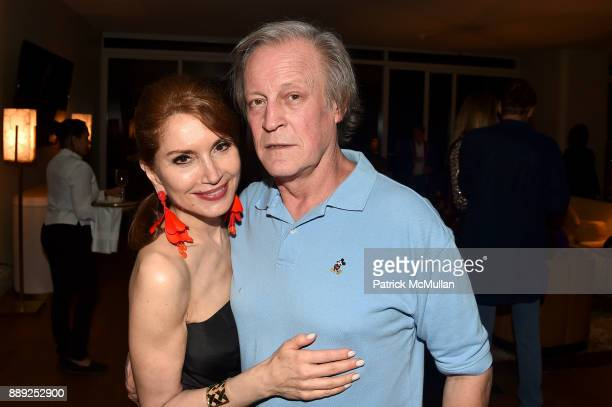 Jean Shafiroff and Patrick McMullan attend the Galerie Gmurzynska Dinner in Honor of Jean Pigozzi at the Penthouse at the Faena Hotel Miami Beach on...