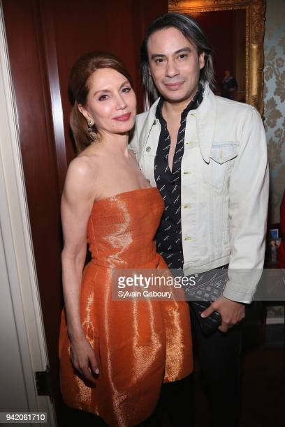 Jean Shafiroff and Victor dE Souza attend Martin and Jean Shafiroff Host Cocktails for Surgeons of Hope at Private Residence on April 4 2018 in New...