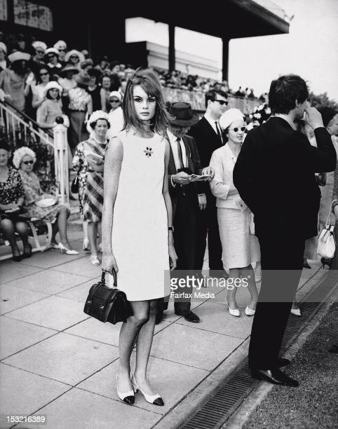 Jean Shrimpton at Derby Day at Flemington Racecourse in Melbourne 30 October 1965