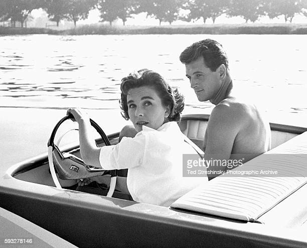 Jean Simmons and Rock Hudson take time out from filming on the set of This Earth Is Mine to go for a boat ride on the Napa river