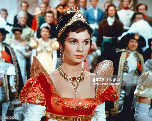 Jean Simmons Britiish actress wearing an orange dress with a gold tiara and necklace in a publicity portrait issued for the film 'Desiree' 1954 The...