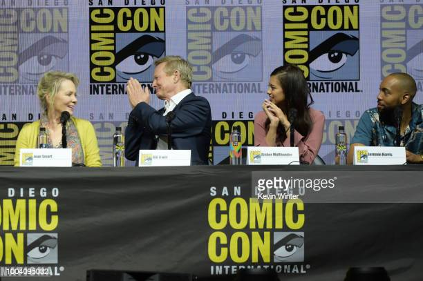 Jean Smart Bill Irwin Amber Midthunder and Jeremie Harris speak onstage at the 'Legion' discussion and QA during ComicCon International 2018 at San...
