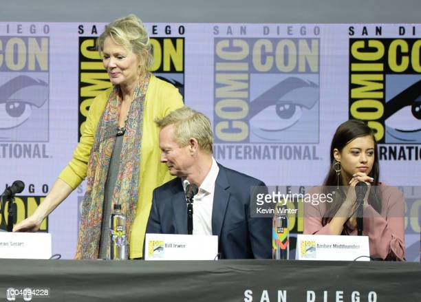 Jean Smart Bill Irwin and Amber Midthunder speak onstage at the 'Legion' discussion and QA during ComicCon International 2018 at San Diego Convention...