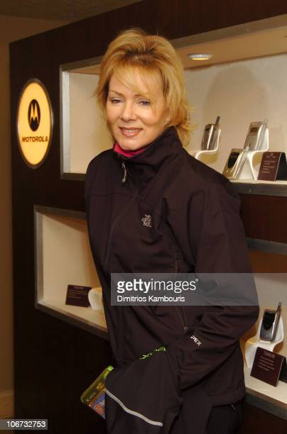 Jean Smart in front of Motorola display during 2004 Park City Motorola Lodge at Motorolla House in Park City Utah United States