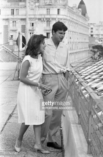Jean Sorel et sa femme Anna Maria Ferrero lors du Festival de Cannes en mai 1963, France.