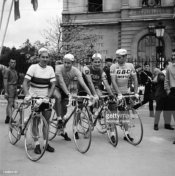 Jean Stablinski Jacques Anquetil Raymond Poulidor And Rick Van Looy just before the start of the Tour De France in Nogent Sur Marne on June 23 1963...