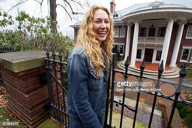 Jean Strahan former wife of New York Giants' defensive end Michael Strahan smiles outside her Montclair NJ mansion after reaping a windfall in her...