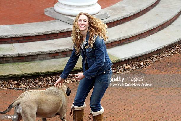 Jean Strahan former wife of New York Giants' defensive end Michael Strahan plays with her dog outside her Montclair NJ mansion after reaping a...