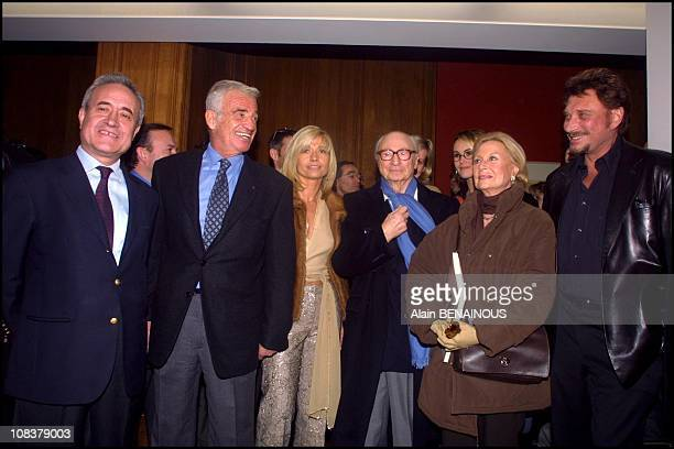 Jean Tiberi JeanPaul Belmondo Natty Gerard Oury Michele Morgan Johnny Hallyday in Paris France on November 20 2000