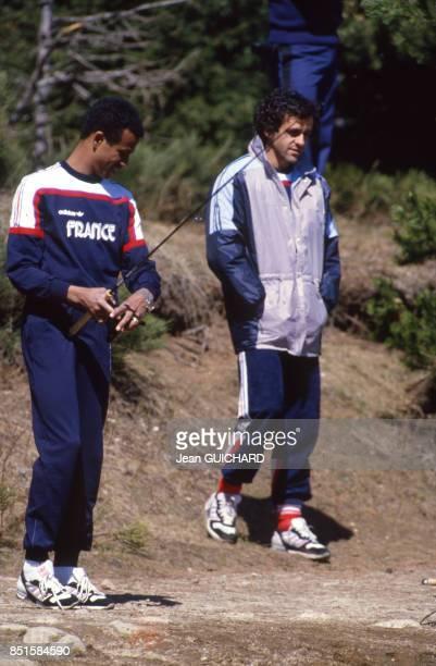 Jean Tigana et Michel Platini à FontRomeu France le 4 mai 1986