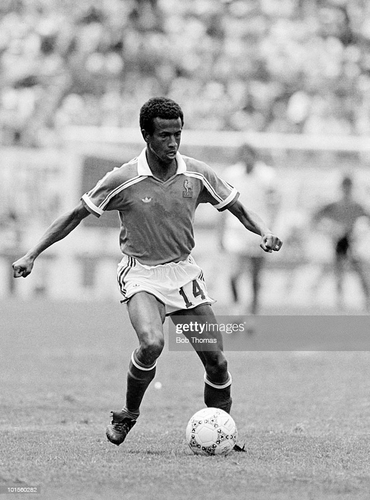 Jean Tigana of France in action against Belgium during their World Cup Finals Third Place match held at the Estadio Cuauhtemoc in Puebla, Mexico on 28th June 1986. France beat Belgium 4-2 after extra time. (Bob Thomas/Getty Images).